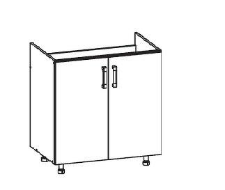 FIORE dolní skříňka DK80 pod dřez, korpus ořech guarneri, dvířka bílá supermat