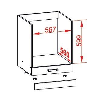 FIORE dolní skříňka DP60, korpus congo, dvířka bílá supermat