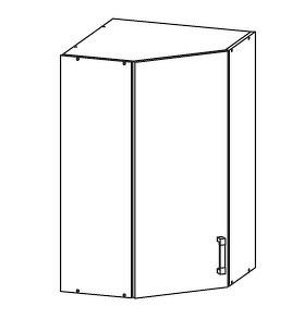 FIORE horní rohová skříňka GNWU 60/95, korpus wenge, dvířka bílá supermat