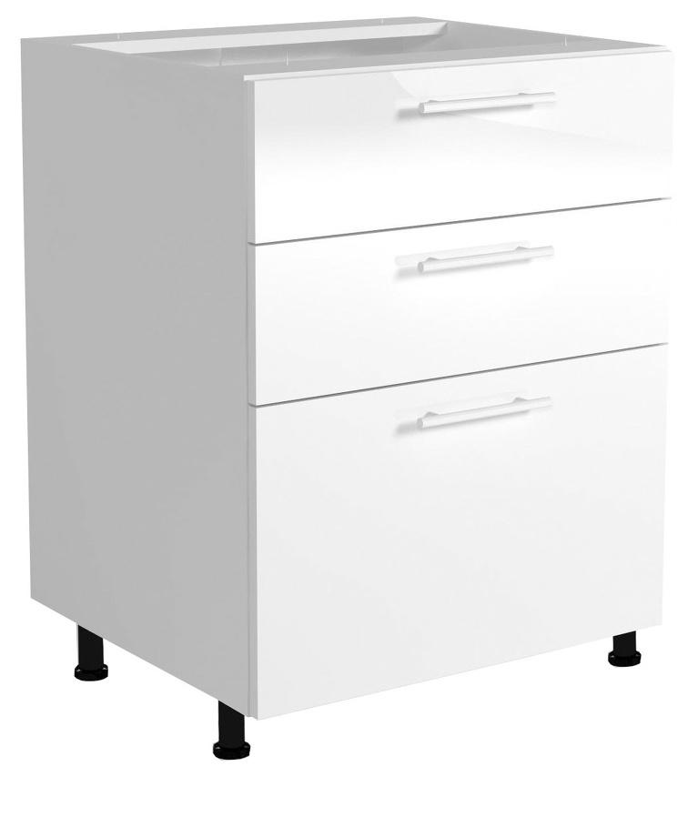 Halmar Dolní skříňka s šuplíky VENTO D3S-60/82, dvířka: bílý lesk