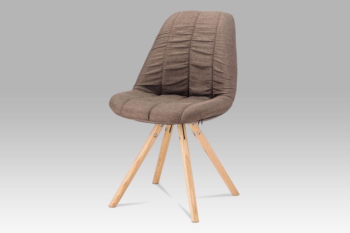Jídelní židle CT-121 BR2, hnědá látka/dub masiv
