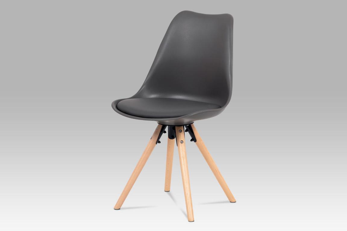 Jídelní židle CT-805 GREY, šedý plast+ekokůže/buk masiv