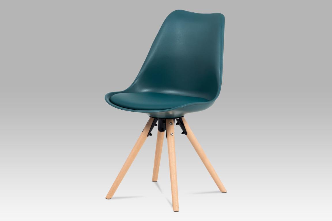 Jídelní židle CT-805 PET, petrolejová plast+ekokůže/buk masiv