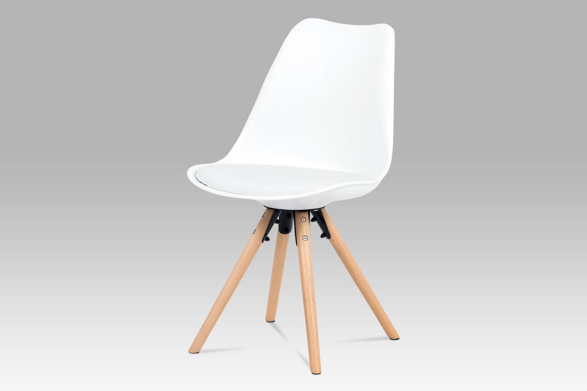 Jídelní židle CT-805 WT, bílý plast+ekokůže/buk masiv