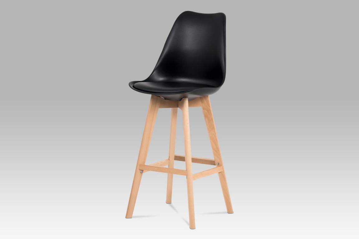 Jídelní židle CTB-801 BK, černý plast+ekokůže/buk masiv