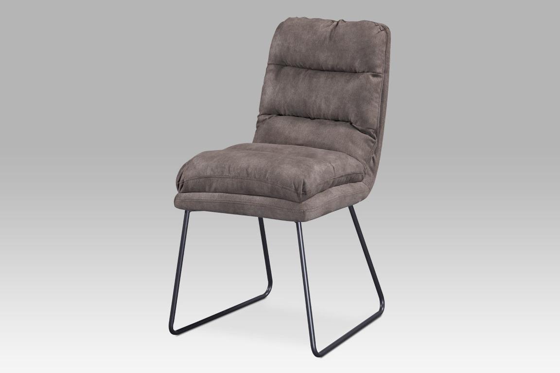 Jídelní židle DCH-255 BR3, hnědá látka/kov šedý