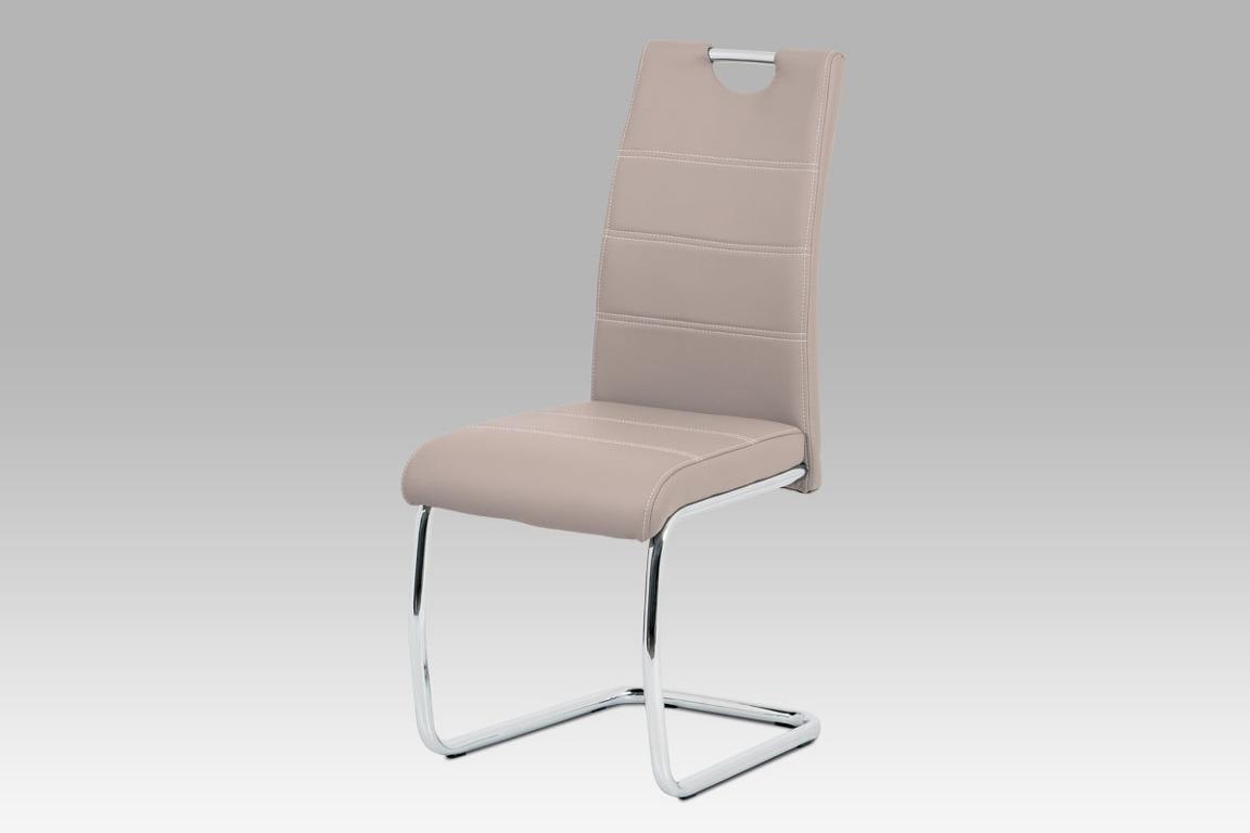 Jídelní židle HC-481 LAN, béžová ekokůže/chrom