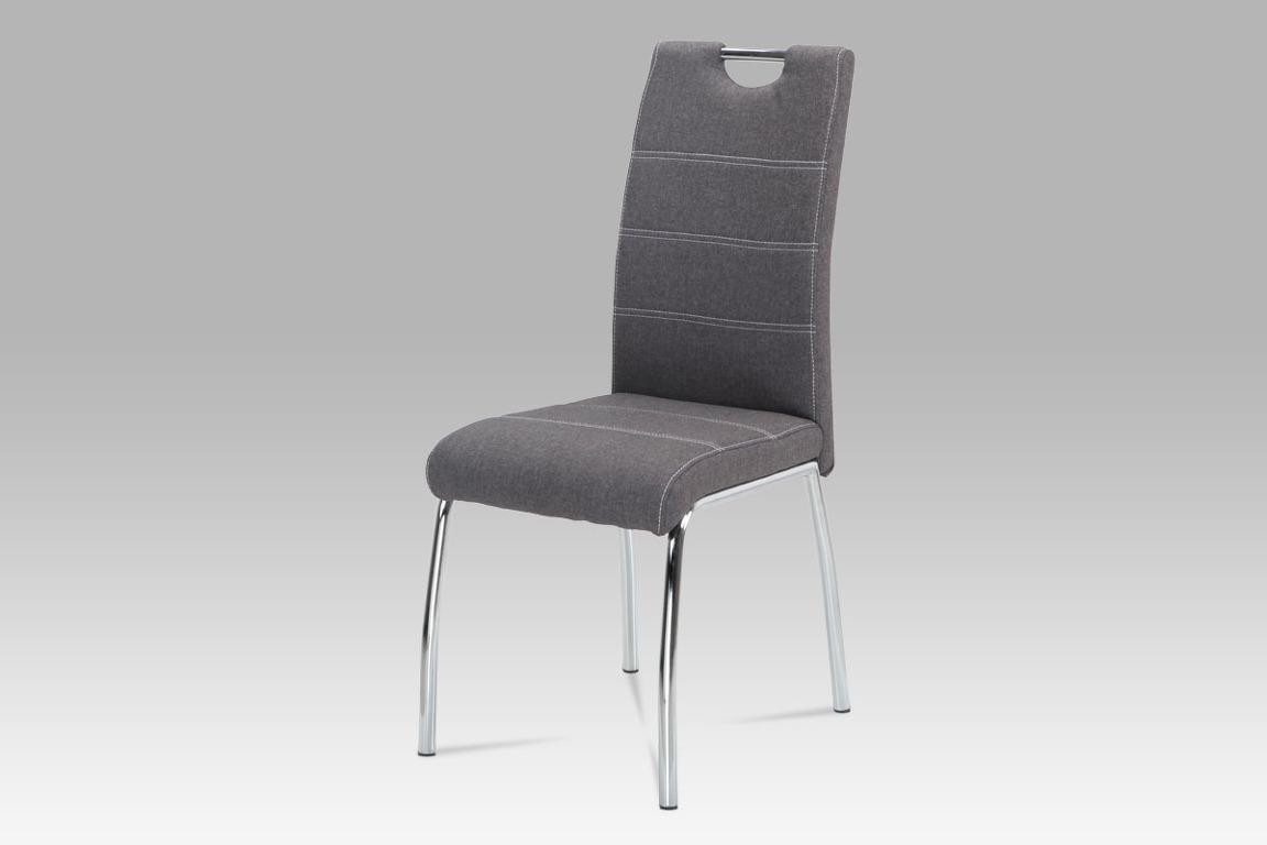 Jídelní židle HC-486 GREY2, šedá látka/chrom