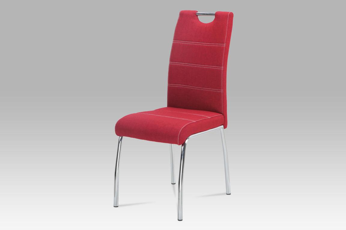 Jídelní židle HC-486 RED2, červená látka/chrom