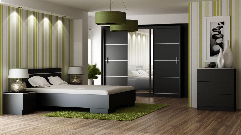 Ložnice VISTA, černá (postel 160, skříň, komoda, 2 noční stolky)