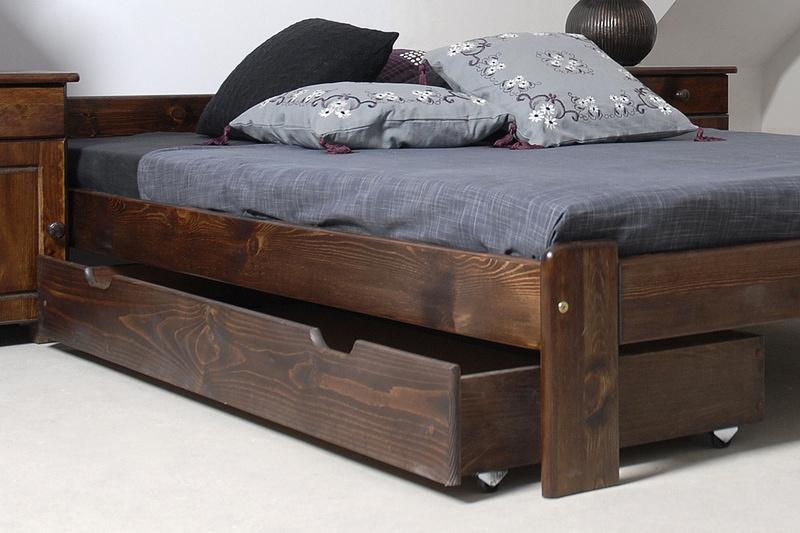 Magnat úložný prostor pod postel 150 cm, masiv borovice/moření ořech, (šxhlxv): 150x57x19,5 cm