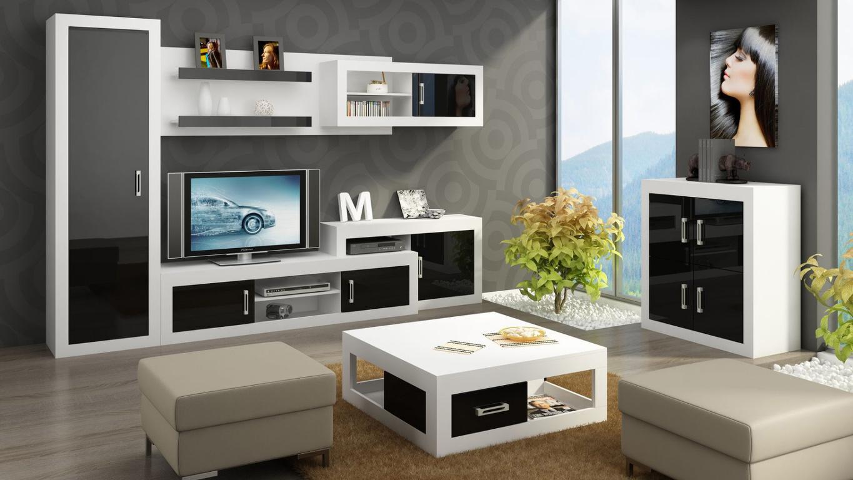 MORAVIA FLAT Obývací stěna VERIN 2, bílá/černý lesk