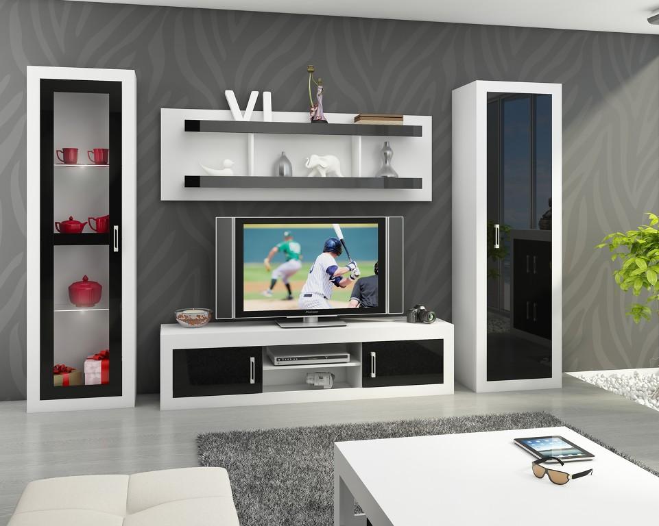 MORAVIA FLAT Obývací stěna VERIN 4, bílá/černý lesk