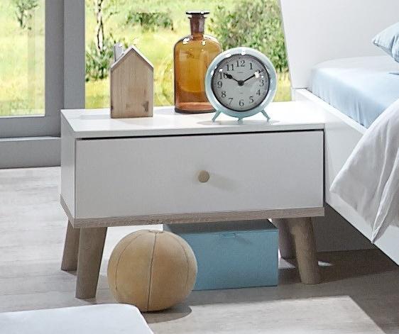 Noční stolek BERGEN 697, bílá/dub