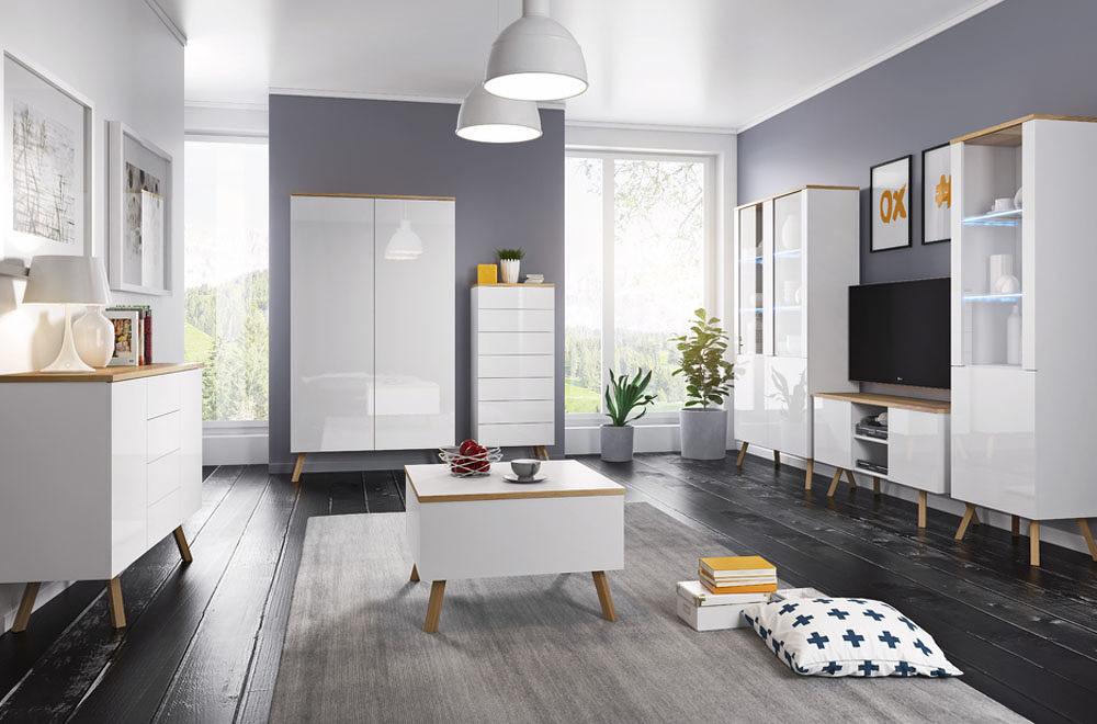 Obývací pokoj LIMA, bílá/dub wotan