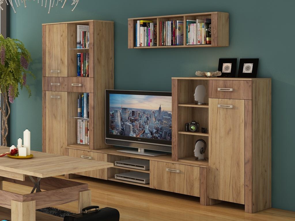 Obývací stěna HUGO 1, craft zlatý/craft tobaco