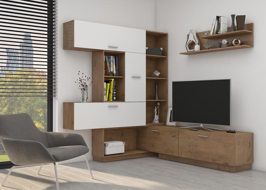 Obývací stěna VARIO, dub lancelot/bílý lesk