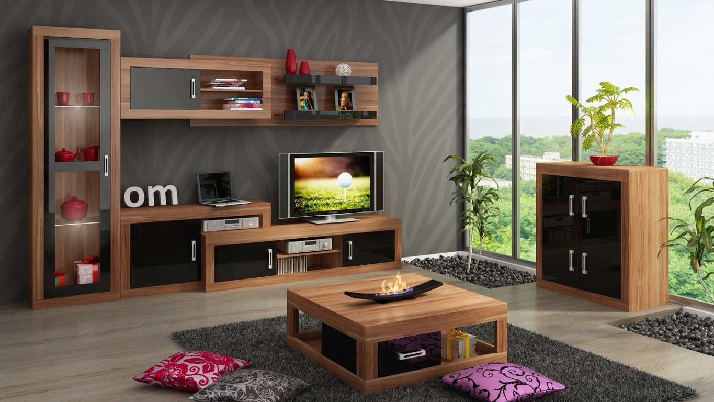 Obývací stěna VERIN 3, švestka wallis/černý lesk