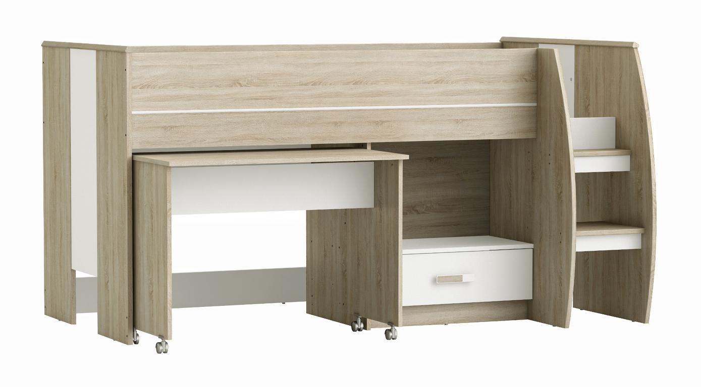 Patrová postel s psacím stolem SWITCH 90x200 cm, dub/bílá