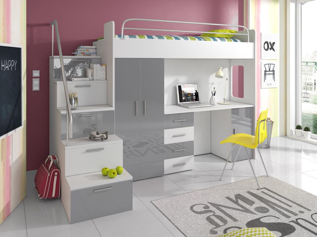 Patrová postel se skříní a psacím stolem RAJS 4S, bílá/šedý lesk Z EXPOZICE PRODEJNY