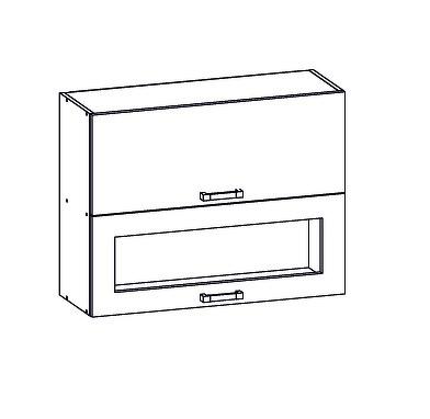 PLATE PLUS horní skříňka G2O 80/72, korpus šedá grenola, dvířka bílá perlová