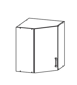 PLATE PLUS horní skříňka GNWU 60/72 - rohová, korpus ořech guarneri, dvířka bílá perlová