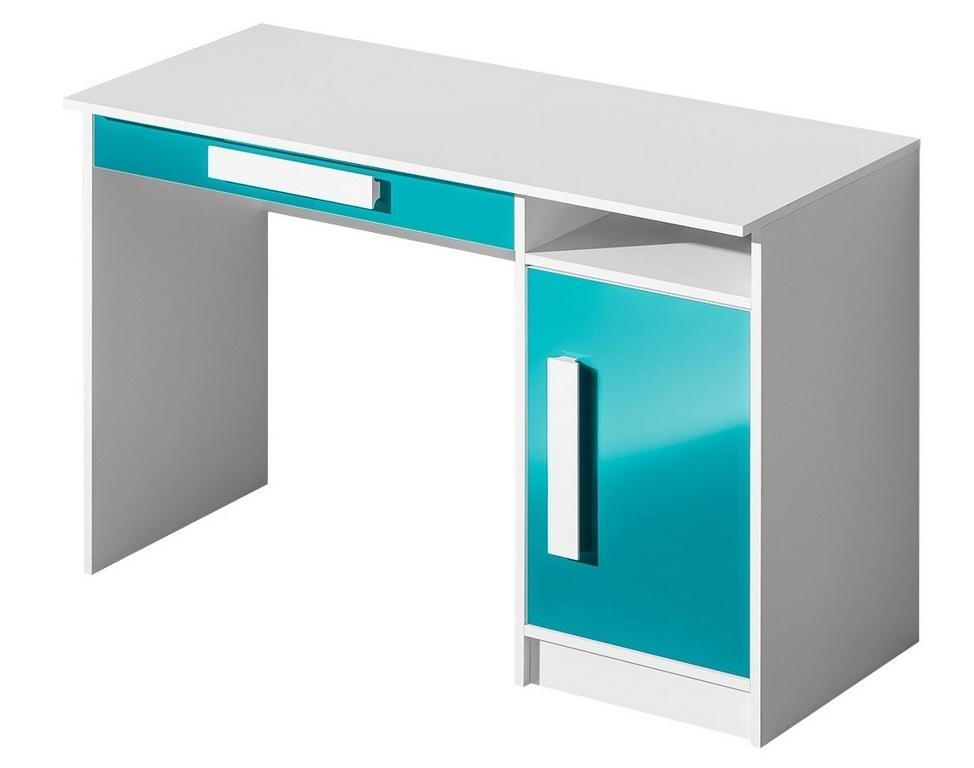 Pracovní stůl GULLIWER 9 bílá/tyrkys lesk