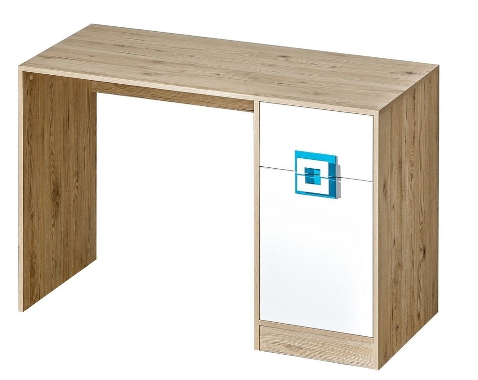 Pracovní stůl NIKO 10, dub jasný/bílá/tyrkys