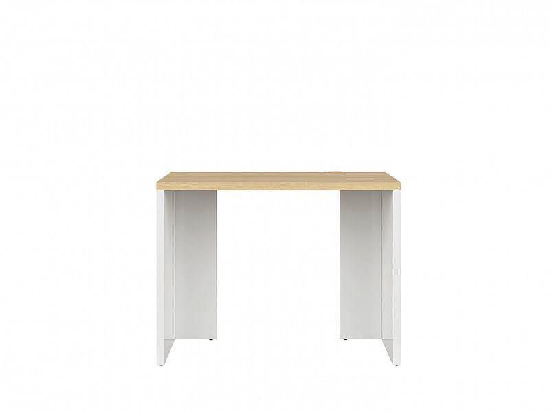 Psací stůl DENTON BIU/100, bílý lesk/dub polský