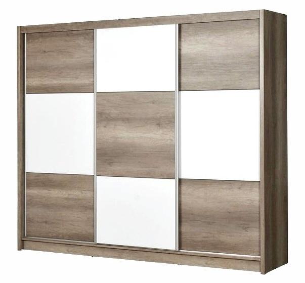 Šatní skříň CORDOBA 250 country gray/bílá