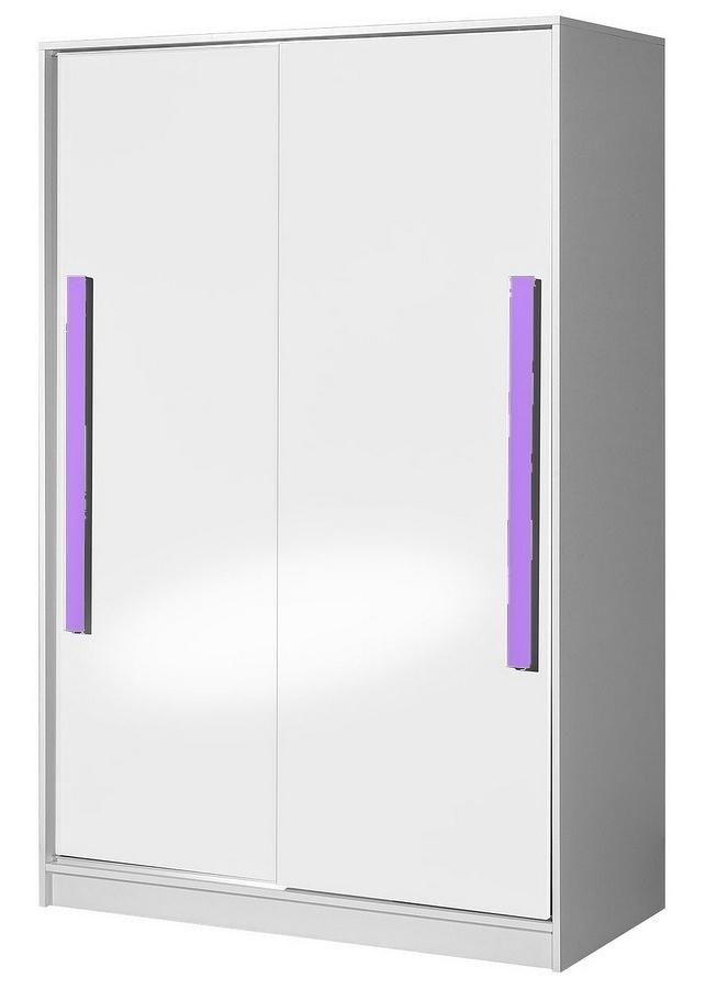 Šatní skříň s posuv. dveřmi GULLIWER 12 bílá lesk/fialová