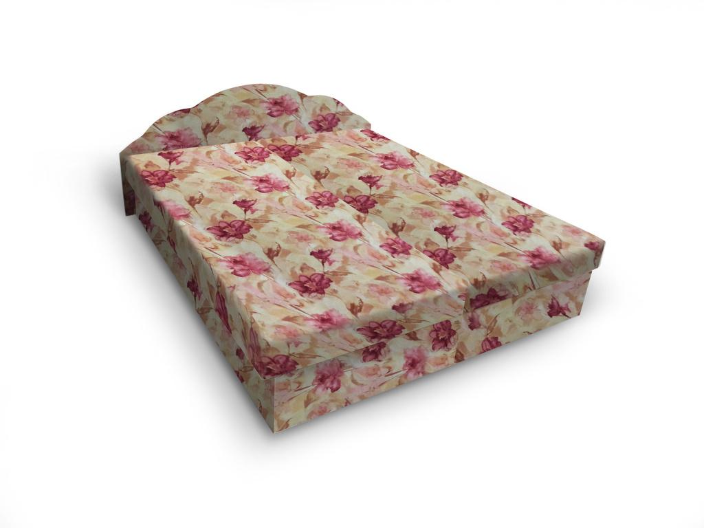 Smartshop Čalouněná postel JITKA 160x195 cm, květinový vzor
