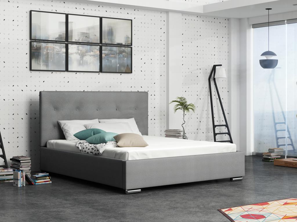 Smartshop Čalouněná postel SOFIE 1 140x200 cm s roštem, šedá látka