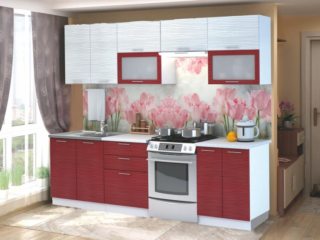 Smartshop Kuchyně VALERIA 200/260 cm červený + bílý lesk