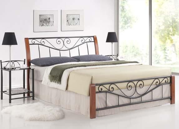 Smartshop PARMIA, postel 180x200 cm, masiv/kov, třešeň