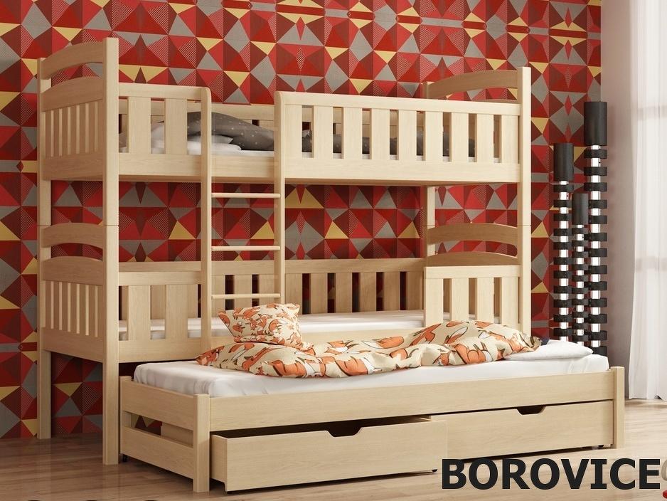 Smartshop Patrová postel s přistýlkou LABOO 90x200 cm, masiv borovice/barva:..