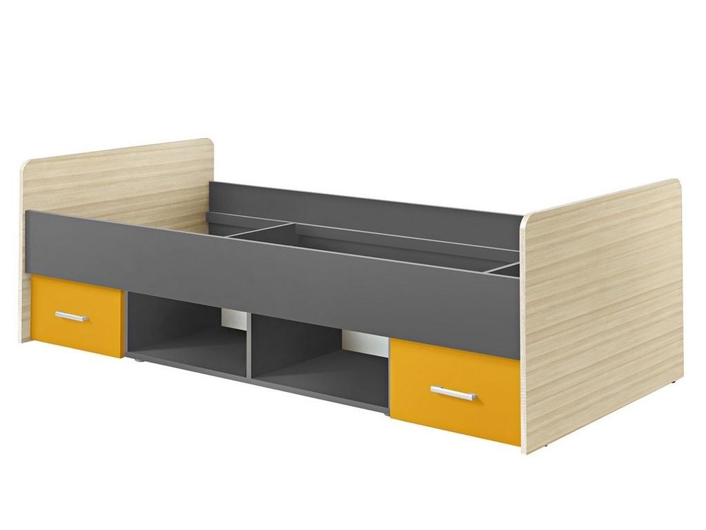 Smartshop Postel PAULINA 90X200 cm, jasan coimbra/šafrán