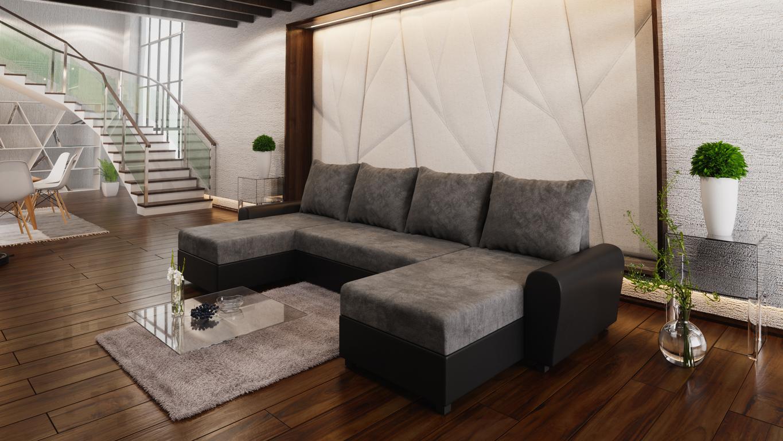 Smartshop Rohová sedačka DAKAR U 1, tmavě šedá látka/černá ekokůže