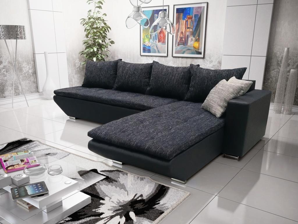 Smartshop Rohová sedačka KREDO 2, černá látka/černá ekokůže