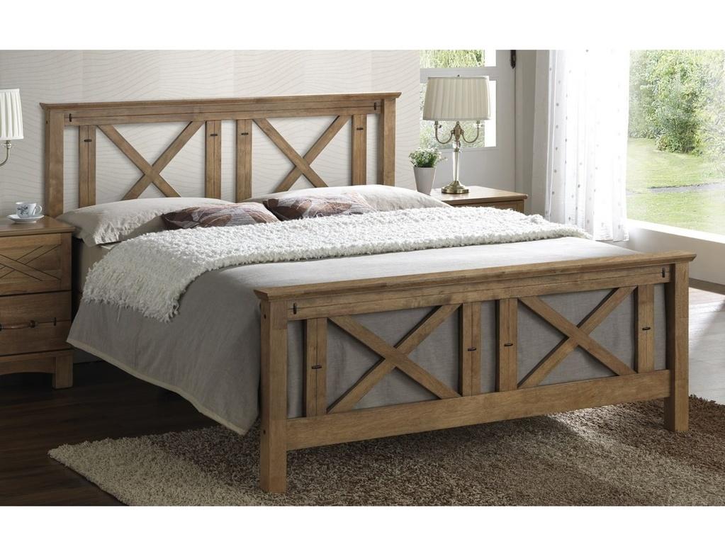 Smartshop TEXAS, masivní postel 180x200 cm s roštem, teak s vypalovaným dekorem