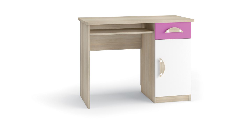 TENUS II psací stůl, dub sonoma/růžová/bílá