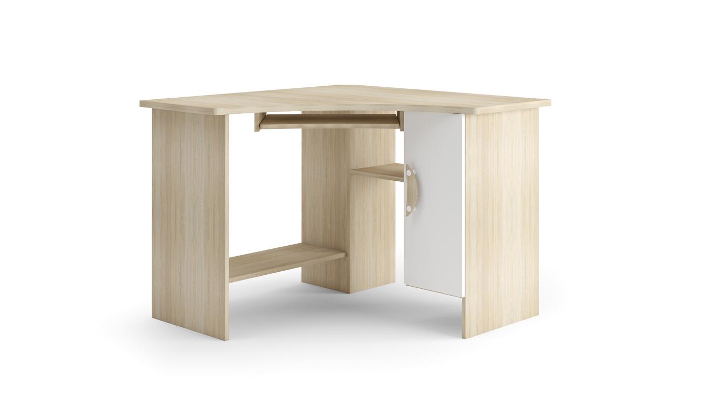 TENUS II rohový psací stůl, dub sonoma/bílá