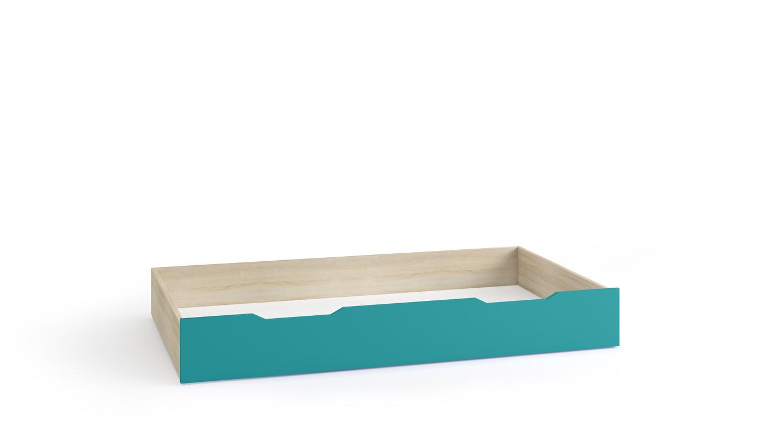 TENUS II úložný prostor pod postel 90 cm, dub sonoma/tyrkysová/bílá