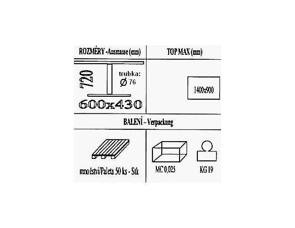 Jídelní stolová podnož BM041/600