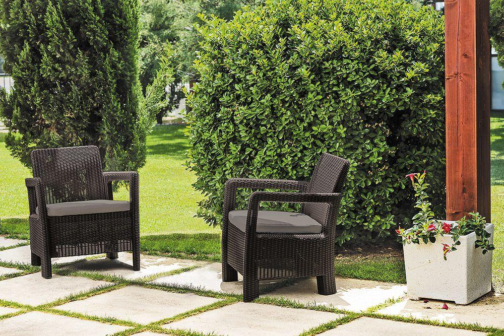 Allibert TARIFA 41414 Zahradní set křesel hnědé + šedohnědé podušky