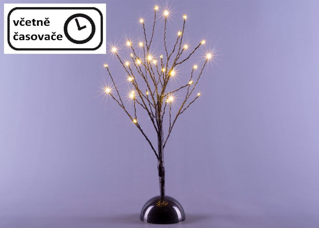 Dekorativní LED světelný strom s 32 LED, 40 cm - černý
