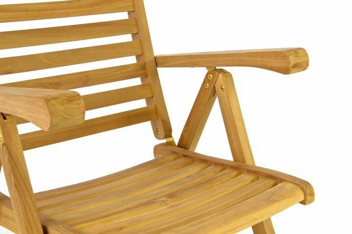 Divero 40742 Dřevěná polohovatelná židle - týkové dřevo