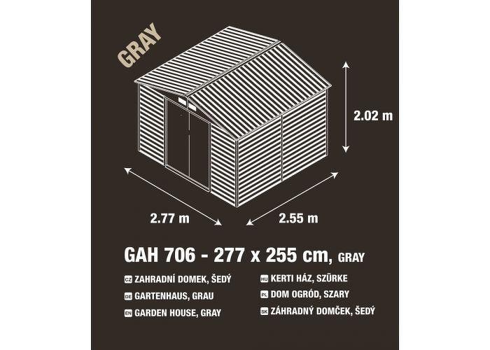 G21 GAH 706 Zahradní domek - 277 x 255 cm, šedý
