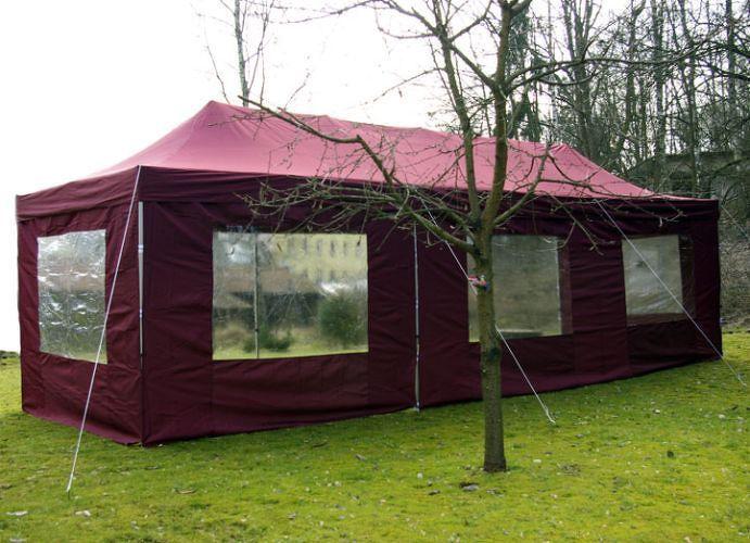 Garthen 402 Zahradní skládací stan - vínový, 3 x 9 m