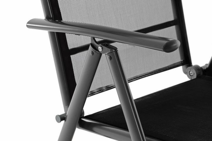 Garthen 40771 Sada dvou zahradní polohovatelných židlí - černá